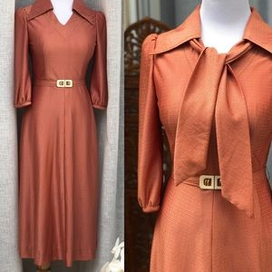 Dresses & Skirts - 1950's Copper Color Collared Dress